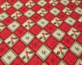 """Christmas Flannel Fabric - Holly Plaid  - 29"""" REMNANT - 100% Cotton Flannel"""