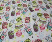 """Flannel Fabric - Fast Food - 32"""" REMNANT - 100% Cotton Flannel"""