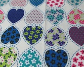"""Flannel Fabric - Patterned Hearts - 32"""" REMNANT - 100% Cotton Flannel"""