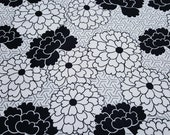 """Flannel Fabric - Black and White Floral with Geo - 25"""" REMNANT - 100% Cotton Flannel"""