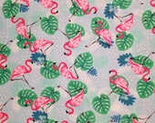 Flamingos On Blue - 100% Cotton Fabric - Select Your Size or By The Yard