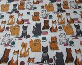 """Flannel Fabric - Kitty Mice and Yarn - 27"""" REMNANT - 100% Cotton Flannel"""
