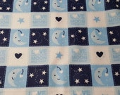 Flannel Fabric - Love to Moon Patch - REMNANT - 100% Cotton Flannel