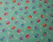 Flannel Fabric - Winking Owls Teal - REMNANT - 100% Cotton Flannel