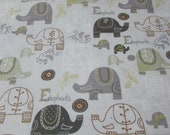"""Flannel Fabric - Baby Elephants Print - 23"""" REMNANT - 100% Cotton Flannel"""
