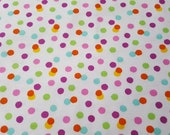 Flannel Fabric - Scattered Bright Dots - REMNANT - 100% Cotton Flannel