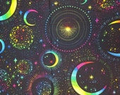 Rainbow Moon & Stars on Black - 100% Cotton Fabric - Select Your Size or By The Yard
