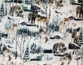 Winter Wolves - 100% Cotton Fabric - Select Your Size or By The Yard