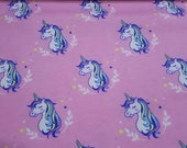 """Flannel Fabric - Unicorns Pink - 25"""" REMNANT - 100% Cotton Flannel"""