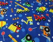 """Flannel Fabric - Earth Movers - 29"""" REMNANT - 100% Cotton Flannel"""