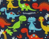 "Flannel Fabric - Baby Dinosaurs Navy - 27"" REMNANT - 100% Cotton Flannel"