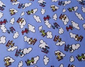 "Flannel Fabric - Airplanes and Clouds - 44"" REMNANT - 100% Cotton Flannel"