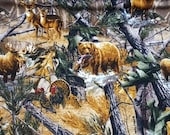 "Flannel Fabric - RealTree Animals in Forest - 24"" REMNANT - 100% Cotton Flannel"