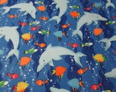 "Flannel Fabric - Dolphins and Sea Friends - 31"" REMNANT - 100% Cotton Flannel"
