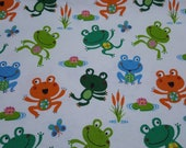 """Flannel Fabric - Happy Frog Tossed - 20"""" REMNANT - 100% Cotton Flannel"""