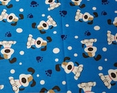 """Flannel Fabric - Cute Dog Blue - 27"""" REMNANT - 100% Cotton Flannel"""