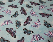 """Flannel Fabric - Orchid Butterflies - 25"""" REMNANT - 100% Cotton Flannel"""