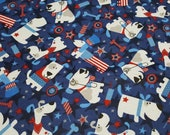 "Flannel Fabric - Patriotic Pups - 27"" REMNANT - 100% Cotton Flannel"