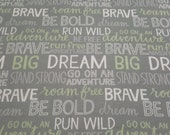 Flannel Fabric - Boone Inspirational Words - REMNANT - 100% Cotton Flannel