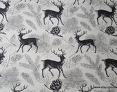 """Flannel Fabric - Deer Gray - 29"""" REMNANT - 100% Cotton Flannel"""