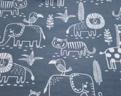 """Flannel Fabric - Sweet Safari Animal Outlines - 26"""" REMNANT - 100% Cotton Flannel"""