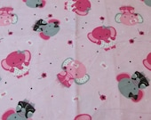 Flannel Fabric - Elephants with Bows - REMNANT - 100% Cotton Flannel