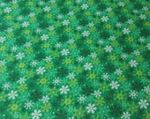 Christmas Flannel Fabric - Snowflakes on Green - REMNANT - 100% Cotton Flannel