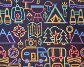 Cotton Fabric - Neon Outline Camping Gear Quilt Cotton Fabric - Select Your Size or By The Yard - 100% Cotton Fabric
