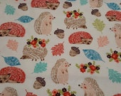 """Flannel Fabric - Sleeping Hedgehogs Natural - 26"""" REMNANT - 100% Cotton Flannel"""