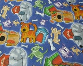 """Flannel Fabric - Dogs and Doghouses - 28"""" REMNANT - 100% Cotton Flannel"""