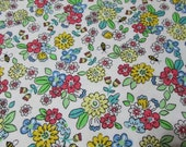 Flannel Fabric - Busy Bee Floral - REMNANT - 100% Cotton Flannel