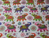 """Flannel Fabric - Patterned Elephants - 23"""" REMNANT - 100% Cotton Flannel"""