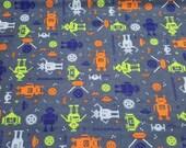 "Flannel Fabric - Techno Robots  - 22"" REMNANT - 100% Cotton Flannel"