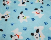 """Flannel Fabric - Happy Dogs on Light Blue - 33"""" REMNANT - 100% Cotton Flannel"""