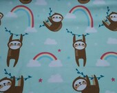 """Flannel Fabric - Rainbow Sloth - 28"""" REMNANT - 100% Cotton Flannel"""