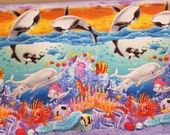 Sea World Bright Ocean Friends Dolphins Whales Fish Under The Sea - 100% Cotton Fabric - Select Your Size or By The Yard