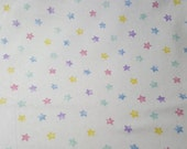 "Flannel Fabric - Pastel Stars - 43"" REMNANT - 100% Cotton Flannel"