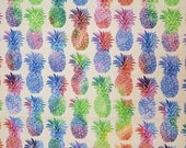 Rainbow Multi Color Pineapples - 100% Cotton Fabric - Select Your Size or By The Yard