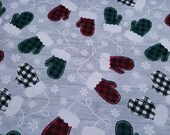 """Christmas Flannel Fabric - Buffalo Check Mittens - 23"""" REMNANT - 100% Cotton Flannel"""