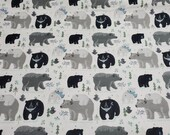 Flannel Fabric - Winter Bear Friends - REMNANT - 100% Cotton Flannel
