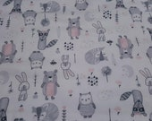 """Flannel Fabric - Wood Sweet Animals on White - 30"""" REMNANT - 100% Cotton Flannel"""