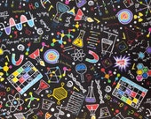 Bright Science Doodles on Black - 100% Cotton Fabric - Select Your Size or By The Yard
