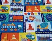 Flannel Fabric - Construction Patch - REMNANT - 100% Cotton Flannel