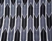 Flannel Fabric - Black Gray Arrow Geo - REMNANT - 100% Cotton Flannel