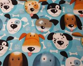 Flannel Fabric - Puppy Faces - REMNANT - 100% Cotton Flannel