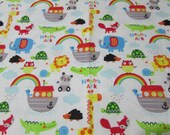 Flannel Fabric - Noah's Ark Colorful on White - REMNANT - 100% Cotton Flannel