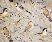 Tossed Birds on Gray, Susan Winget Premium Quilting - 100% Cotton Fabric - Select Your Size or By The Yard