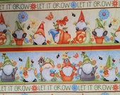 Gnome Is Where The Garden Grows, Garden Gnomes in Pots, Striped, Let it Grow, Quilt Cotton Fabric - Select Size or BTY - 100% Cotton Fabric