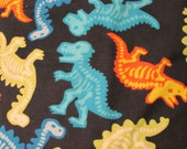"""Flannel Fabric - Dino Skeletons - 29"""" REMNANT - 100% Cotton Flannel"""
