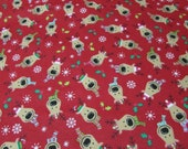 Christmas Flannel Fabric - Reindeer on Red - REMNANT - 100% Cotton Flannel